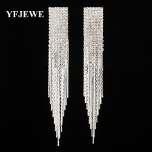 YFJEWE New Classic Jewelry Exaggerated Full Crystal Long Drop Earring Statement Tassel Chain Earrings Gift For Women #E440(China)