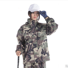 Sports burberry_ men Woman Raincoats Digital Camouflage Outdoor Jacket Double layer Waterproof Clothes Motorcycle Rainwear(China)
