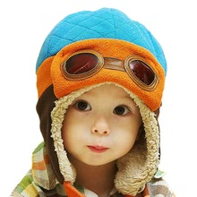 Boys Girls Baby Pilot Aviator Hat Winter Cotton Warm Ear Cap Beanie 4 Colors(China)