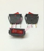 10PCS/Lot KCD3-101N KCD2 AC Power Rocker boat Switch  Red light 2 Files 3Pin  15A/250V