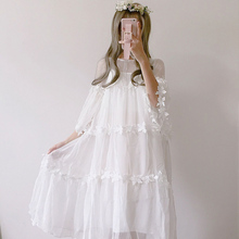 edition small and pure and fresh perspective lace gauze smock dresses in fairy long dress +  with shoulder-straps