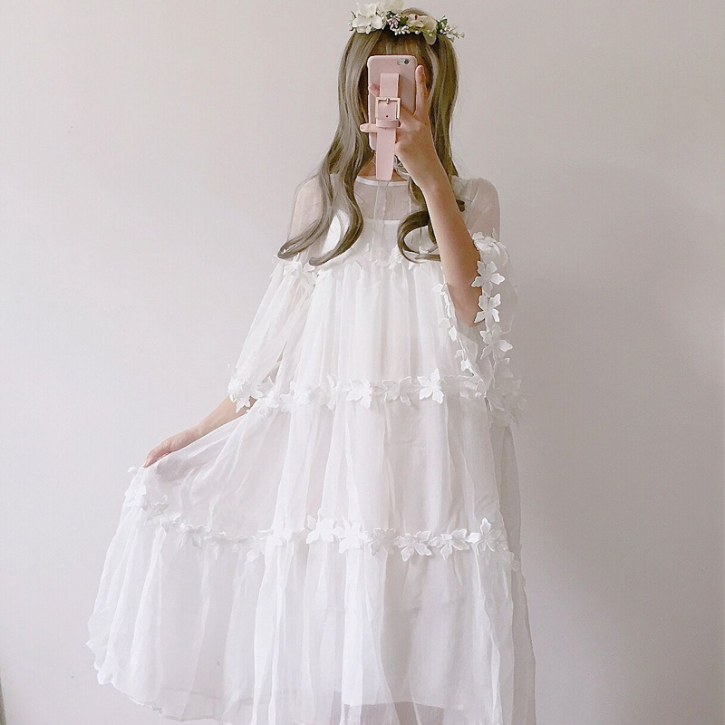edition small and pure and fresh perspective lace gauze smock dresses in fairy long dress + with shoulder-straps(China)