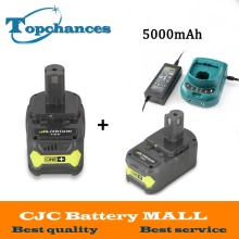 Charger+2pcs 18V 5000mAh Li-Ion For Ryobi Hot P108 RB18L40 High Capacity Rechargeable Battery Pack Power Tool Battery Ryobi ONE+