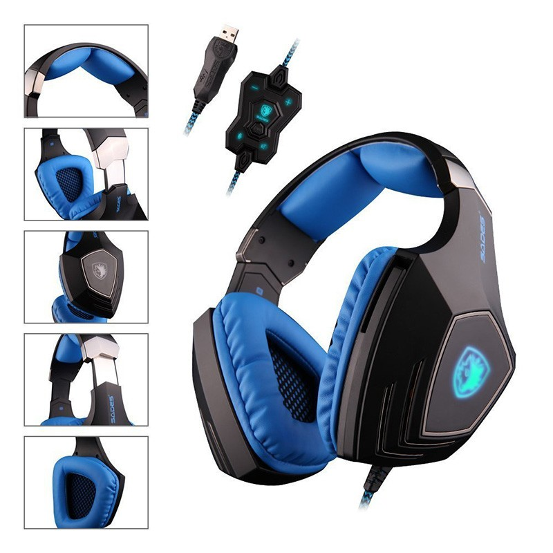 SADES A60 Game Headset 7.1 Surround Sound Pro Gaming Headset Gamer Vibration Function Headphones Earphones with Mic for PC Game<br><br>Aliexpress