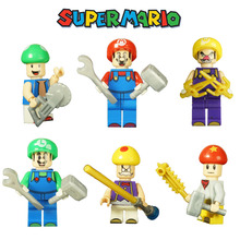6pcs Small Super Mario Bros Toy Action Figures Luigi Wario Mushroom Building Blocks Bricks Sets Figures Model Gift for boy(China)