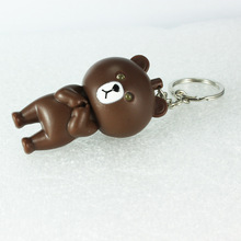 Mini expressions bears led key chain individuality creative mobile phone's accessories led flashlight car pendant wholsale(China)