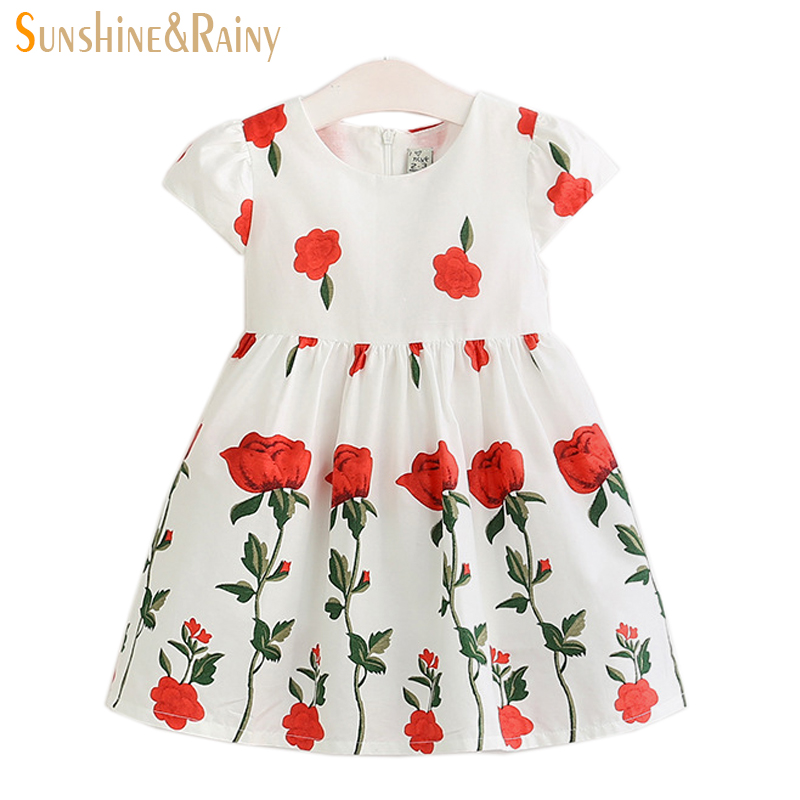 2017 Spring Summer Baby Girl Dress Kids Princess Style Rose Printed Flower Girls Dresses For Party And Wedding<br><br>Aliexpress