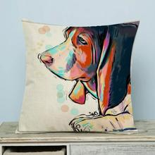 Factory Supply Painted Animals Golden Retriever Dog Decorative Soft Short Plush Throw Pillow Home Bedside Back Cushion