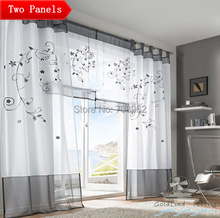 2PCS USA Pastoral Embroidered Patchwork  Multicolor Sheer Living room Door Window Curtains