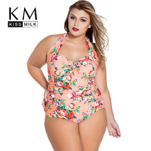 Kissmilk Plus Size Women Swimsuits Sexy Cut Out Draped Halter Beach Bathing Bodysuit Push Up Hollow Out Bikini Big Size 3XL 4XL