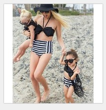 2017 Summer Family Match Swimsuit Mother and Daughter Floral Bikini Set Toddler Kids Swimming Bathing Suit High Waist Swimming(China)