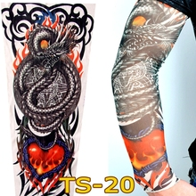 Free Shipping 2 PCS 2017 New Fashion Dragon Fire Heart Fake Tattoo Sleeves Arm Leg For Women/Mens,More 140 Styles Can Choose(China)