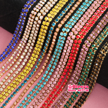 Multicolor 3.6Meter/ Roll Gilded Base Clear Crystal SS6 (2mm) Intensive Gold Base DIY Beauty Accessories Rhinestone Chain Y3735