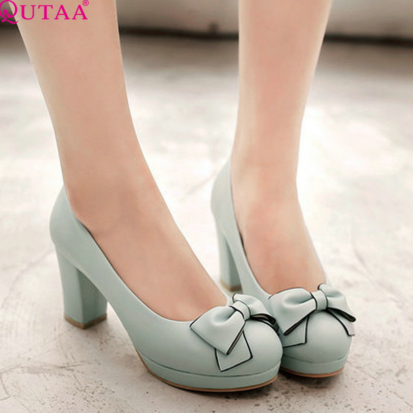 QUTAA 2017 Blue Women Pumps Square High Heel Platform PU Leather Round Toe Bow Tie Slip On Ladies Wedding Shoes Size 34-43<br><br>Aliexpress