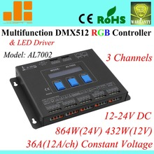 Free shipping Multifunctional RGB Controller / DMX led driver / DMX Controller master, 3 Channels AL7002(China)