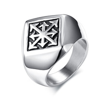 Personalized Arrow Cross Chaos Star Rings in Stainless Steel