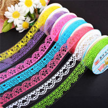 1Pcs Lace Tape Decoration Roll Candy Colors DIY Washi Decorative Sticky Paper Masking Tape Self Adhesive Tape Scrapbook Tape