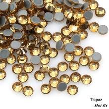 Top quality Topaz Hot-fix Rhinestones SS16-SS30 Crystal glass Iron On  Rhinestone for clothes decoration 4ac5b2977002