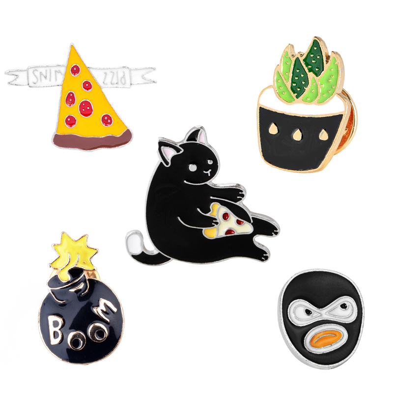 5 pcs / set Black face plant Cat pizza Vintage Collar Pin Factory Direct Sales Fashion Jewelry Retro Brooch Shirt Pin(China (Mainland))