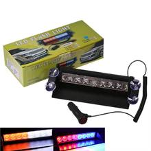 Hot Sale Car Police Strobe Warning Light 8 Led Emergency Red/Blue Yellow/White Beacon Flashing Lamp Sucker On Windshield(China)
