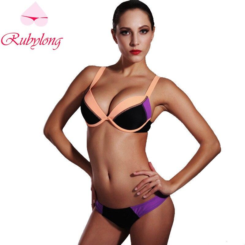 Rubylong 2017 Sexy Push Up Padded Bikinis Swimwear Women Lady Girl Halter Hot Biquini Swimsuit Bikini Set Beachwear Bathing Suit<br><br>Aliexpress