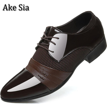 Ake Sia Fashion Male Patent Leather Mens Dress Shoes Business Wedding Formal British Style Men Spring Autumn Hombre Zapatos F116(China)