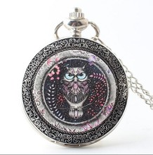 Coupon for wholesale buyer price good quality owl enamel silver Fashion quartz men and woman Necklace pocket watches gitf