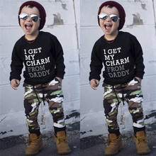 Autumn 2PCS Kids Clothes Boys Toddler Kids Baby Boys Long Sleeve Letter Print Tops+Camouflage Pants Set Clothes Kids Sets JY12#F(China)