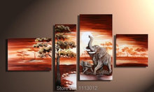 Modern Pink Elephant Lake Sunrise Tree Oil Painting On Canvas Abstract 4 Panel Art Sets Home Decor Wall Picture For Living Room(China)