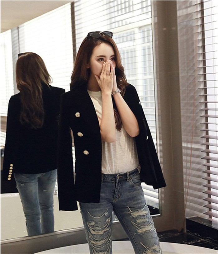 2016 New Spring Fashion Women Midnight Navy Slim Velvet Blazer Jacket Double Breasted simple Lady Blazers (15)