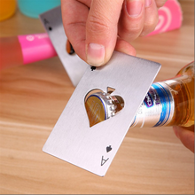 10pcs/lot Creative Poker Card Beer Bottle Opener Personalized Funny Stainless Steel Credit Card Bottle Opener Card of Spades