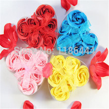 Hot 6pcs Scented Rose Flower Petal  Body Bath Soap Gift Wedding Favor Heart Box  6922 iBa