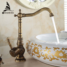 Basin Faucets Deck Mounted Single Handle Bathroom Basin Mixer Tap Antique Bronze Crane High Quality Hot & Cold Water AL-9988F(China)