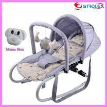 Functional Portable Newborn Infant Baby Trolley Swing Cradle Baby Rocking Chair Recliner Bouncer with Toys and Music Box  0~15 M