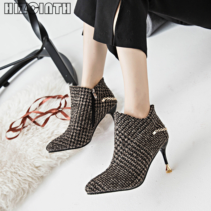 HIZCINTH 2017 Winter Thin Heels High Heels Ankle Boots Shoes Brand Women Temperament Female Short Booties Chain Denim Heels Pump<br>