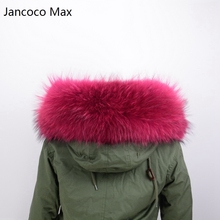 Jancoco Max 80cm Lining Real Fur Collar Trim Or Genuine Raccoon Fur Large Scarf  S1535WS