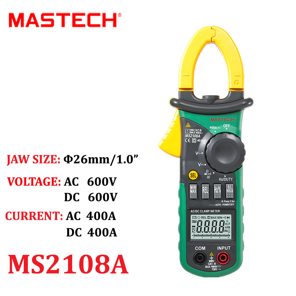 Auto Digital Clamp meter Mastech MS2108A Pincers AC/DC Current Voltage Capacitor Resistance Tester Aimometer Multimeter Amper<br><br>Aliexpress
