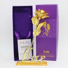 24k Gold Plated Rose With Love Holder Gift Box Gift For Valentine's Day Mother's Day Wedding Decoration Flower Gold Dipped Rose(China)