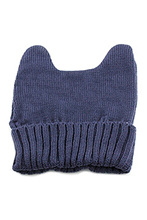 Women's Warm Winter Cat Ear Shape Knitted Hat Claret(China)