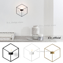 Nordic style ornaments 3D geometric candlestick wall candle holder sconce matching small tealight ornaments steel minimalist(China)