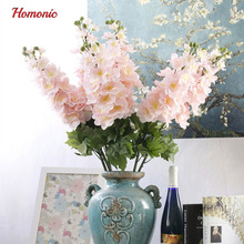 Vivid Autumn Artificial Flowers Fake Delphinium Flower with Leaf Posy high quality silk flowers for home decoration P25(China)