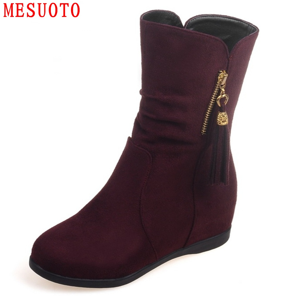 MESUOTO Comfortable Suede Nubuck Hidden Height Casual Flats Womens Short Boots Spring Autumn  Lady Shoes  <br>