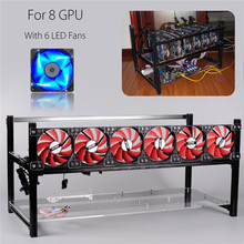 New Stackable Mining Machine Frame 8 Graphics Card GPU with 6 LED Cooling Fan USB PCI-E Cable Computer BTC LTC Coin Miner Sever(China)