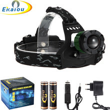 Waterproof 2800 Lumens CREE XM-L T6 Zoom LED headlamp rechargeable led headlight +2pc charger + Car charger(China)