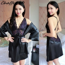 Lace High-end Women Sexy Sleepwear Cheap China Clothes Erotic Nightgown Deep V-neck Robe Sling Dress Cross Straps Sexy Lingerie(China)