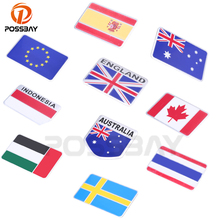 POSSBAY 3D National Flag Logo Emblem Badge Decal Stickers England/Spain/Canada/Sweden Flag Car Motorcycle Truck Decoration(China)