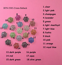 Free shipping 21mm crystal rhinestone button flat back embellishment  for hair bow center 100PCS/lot(BTN-5385)