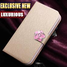 Top quality fashion Leather Flip Case For Motorola RAZR D3 XT919 XT920 Phone Cover with camellia and stander 5 Colors in Stock