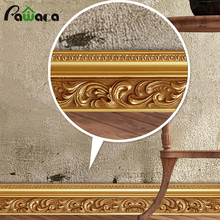 500 CM/ A roll European style 3D wall stickers Luxury Building Brick Skirting Line Removable living room bedroom window Decor(China)
