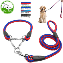2016 Martingale Braided Large Dog Collar With Leash Pet Traction Rope Collar Set For Big Dog Agility Obedience Behavior Training(China)